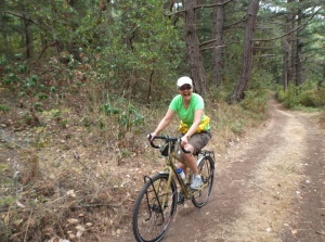 Sue Mountain Biking on Sucia