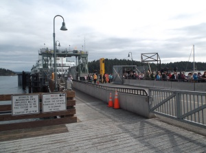 Waiting our turn to embark on my last ferry ride