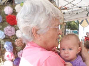 Aunt Glenda and a surprise encounter with her great granddaughter at the festival