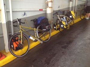 Bikes tied to the ferry