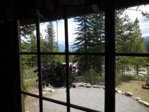 Looking out the window of the Storm Mountain Lodge