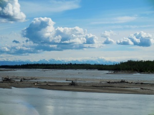 Alaskan Mountain Range in the distance.  Tanana River in the foreground.