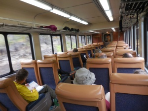 The inside of our train car